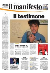 il manifesto del 5 febbraio 2016 con l'ultimo articolo di Giulio Regeni