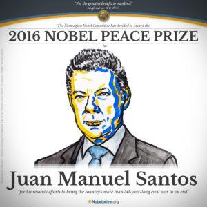 Pace in Colombia: il premio Nobel per la Pace 2016 al presidente Juan Manuel Santos