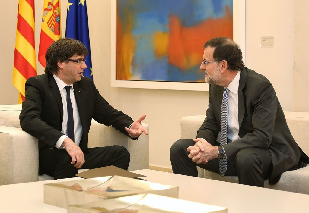 Referendum in Catalogna: Carles Puigdemont e Mariano Rajoy il 20 aprile 2016 (Wikipedia)